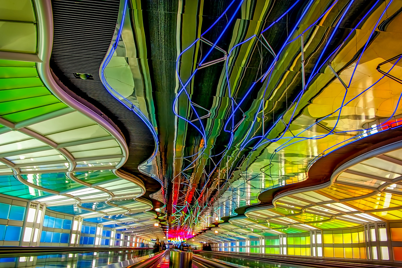 Rainbow Walkway at O'Hare - Take 2
