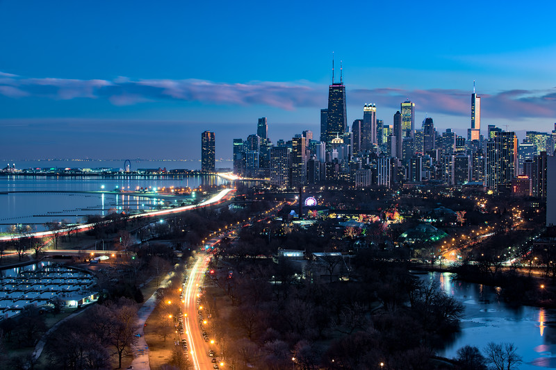 Skyline Over Zoo Lights from Lincoln Park
