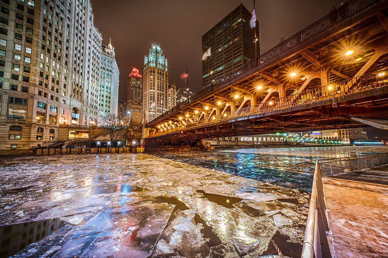 North Michigan Ave. Skyline form the Riverwalk in Winter - Lower