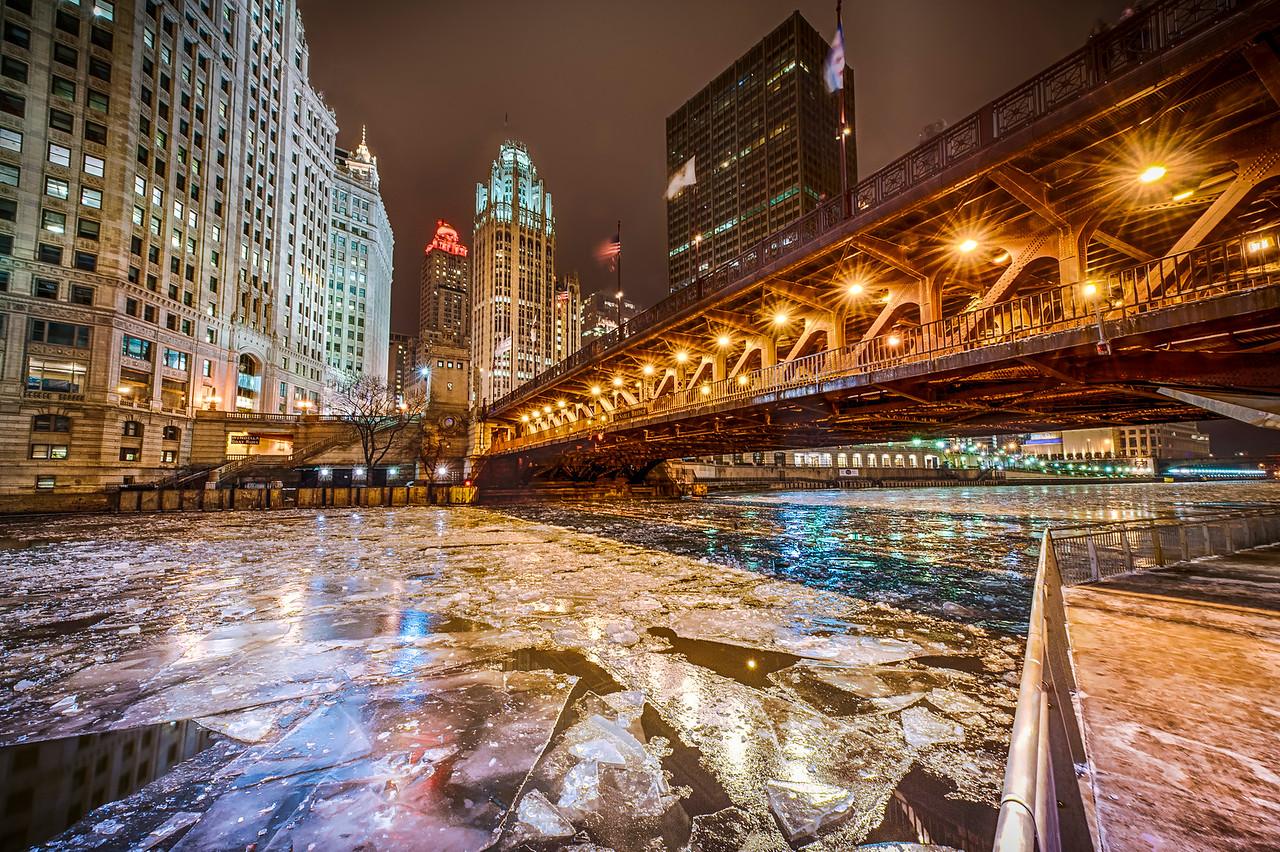 North Michigan Ave. Skyline form the Riverwalk in Winter - Lower