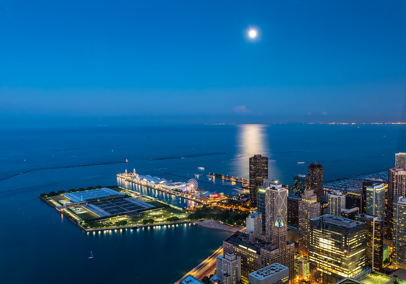 Moonlight Over Navy Pier at Blue Hour