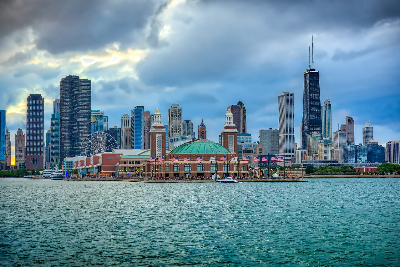 Navy Pier & Skyline on a Cloudy Day
