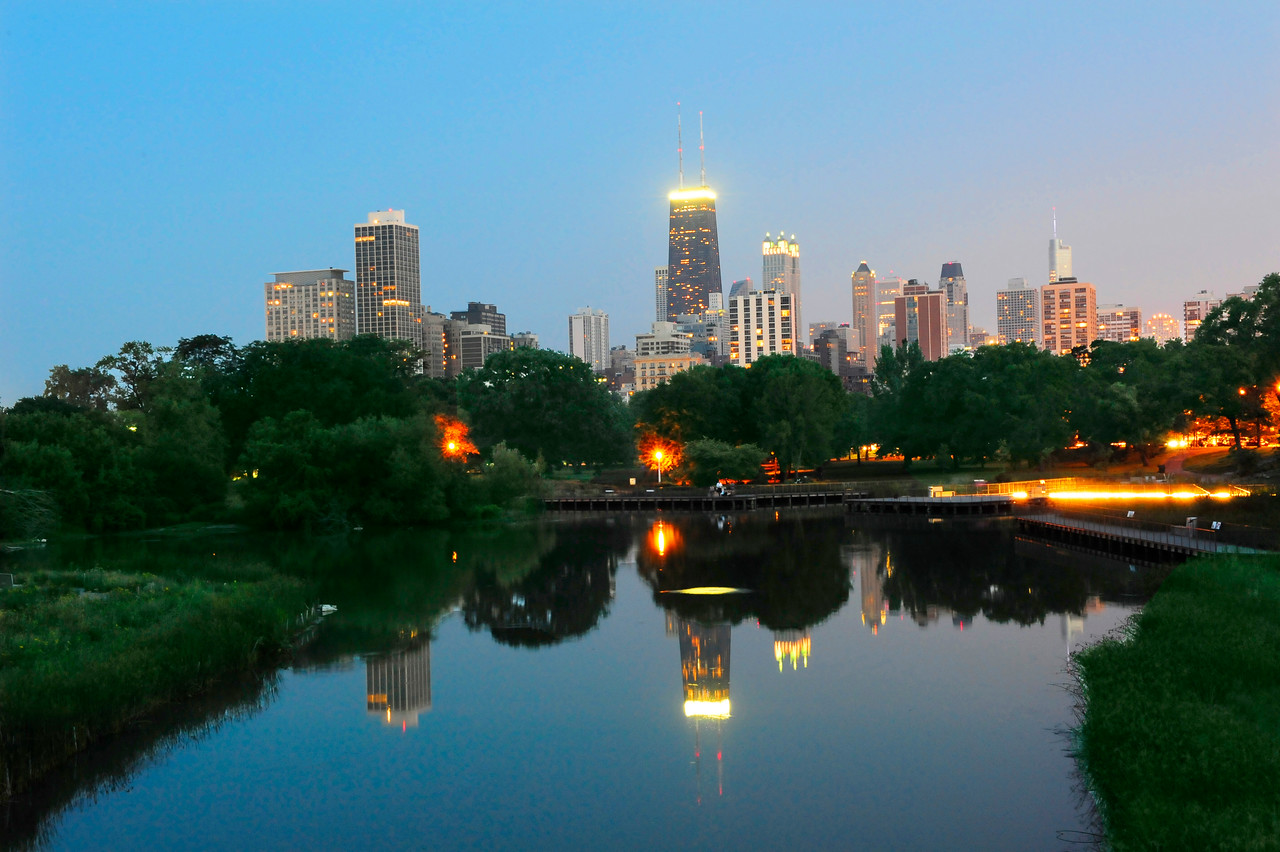Chicago Skyline Reflected in Lincoln Park Pond