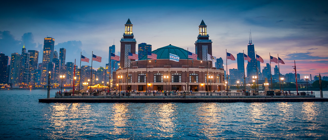 Navy Pier at Dusk - Panoramic