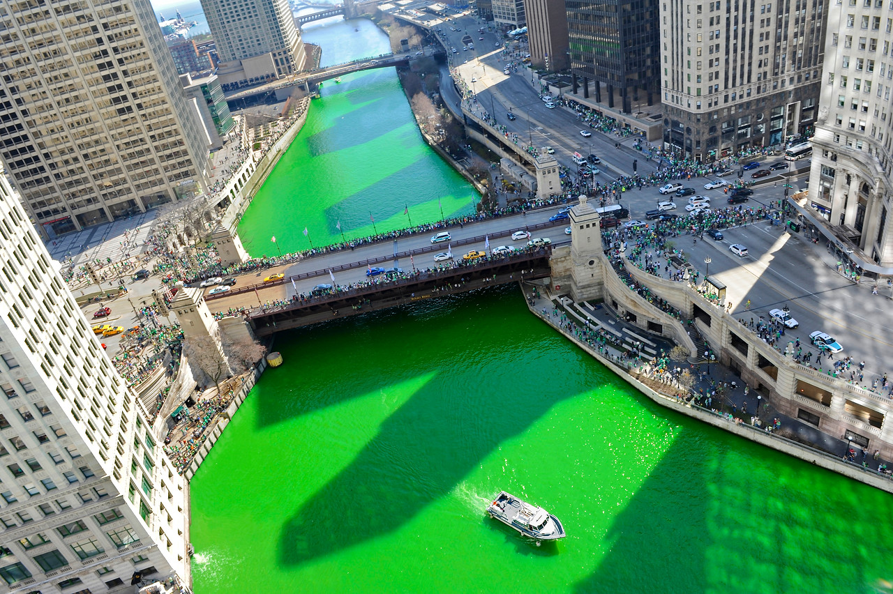 Turning the River Green - Looking Down on the River From Trump