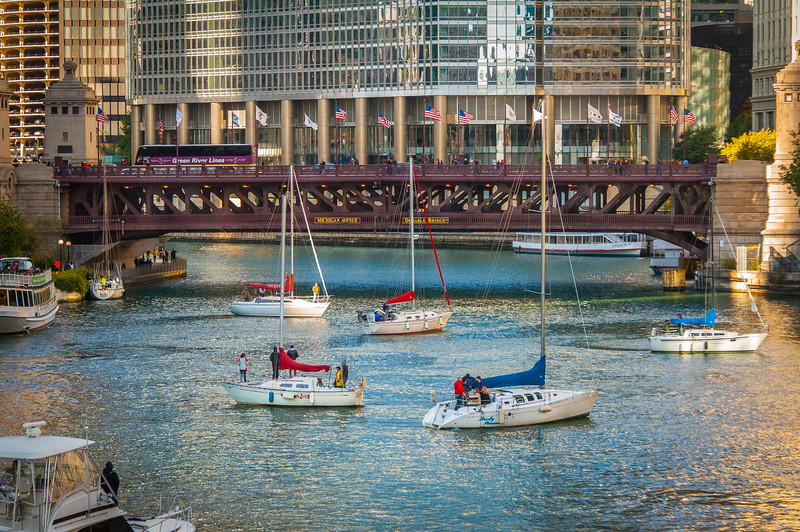 Sailboat Traffic Jam - Michigan Avenue Bridge