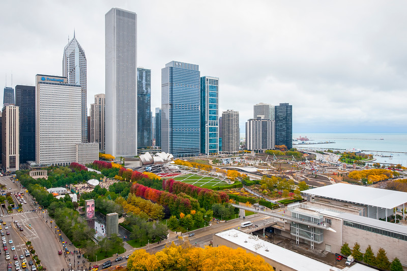 Millennium Park in Autumn from Cliff Dweller's Club