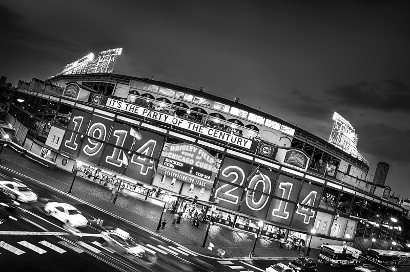 Wrigley Field 100th Anniversary Birthday Portrait - Dutch Tilt - B&W