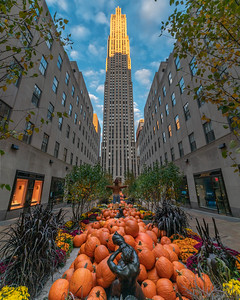 Channel Gardens at Rockefeller Center decorated for Halloween.