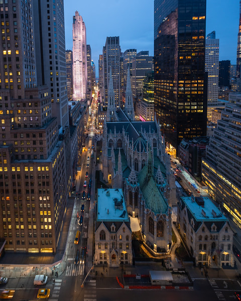 St. Patrick's Cathedral, Rockefeller Center and Midtown seen from the Lotte NY Palace Hotel