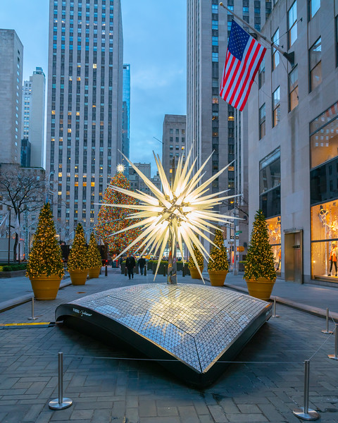 Swarovski Star and the Rockefeller Center Christmas Tree, early morning