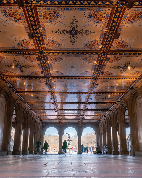 Bethesda Plaza in Central Park, interior walkway.