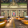 Grand Central Terminal, Park Avenue Viaduct, speeding taxis, and the Christmas Wreath.