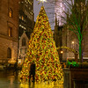 The Lotte New York Palace Christmas Tree, a romantic couple, and Rockefeller Centerin the distance on a foggy evening.