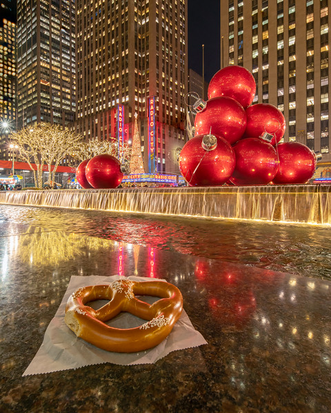 Radio City Music Hall, large Red Ornament Balls, and a Pretzel!