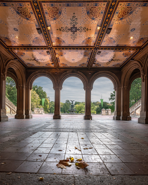 Passage under Bethesda Terrace in Central Park, early fall colors.