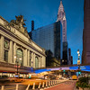 Grand Central Terminal, Chrysler Building, and a Passing Taxi during the Blue Hour