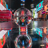 Times Square, mirror, LensBall and light snowfall early in the morning.
