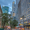 Bank of America Tower, 42nd Street, Bryant Park during the blue hour.