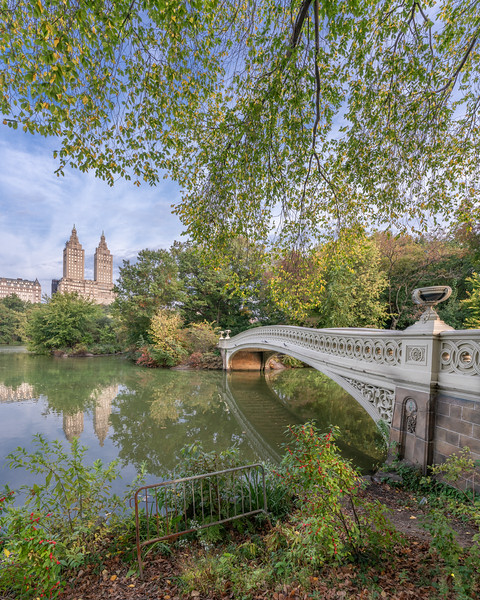 San Remo and Bow Bridge in Centeral Park with fall colors.