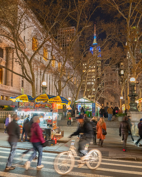 Madison Square Park, NY Public Library, and Empire State Building during the holidays.