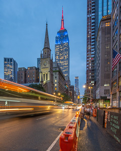 Empire State Building and Marble Collegiate Church from 5th Avenue.