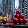 Radio City Music Hall, Large Red Ornaments, and Reflections (high view)