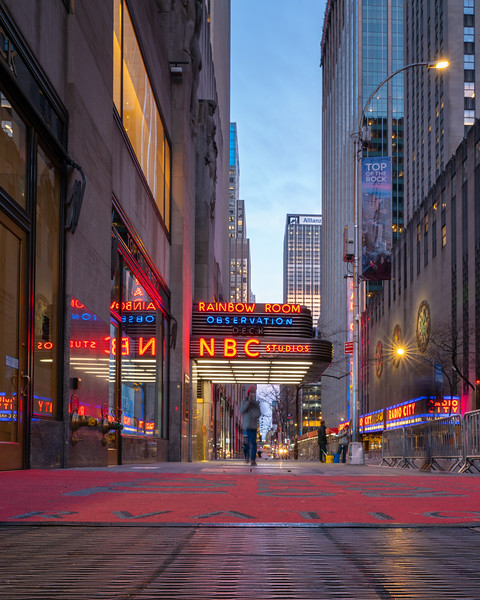 NBC Studios/Rainbow Room entrance in Rockefeller Center, early morning.