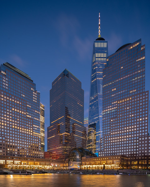 Brookfield Place and the World Trade Center during the blue hour.