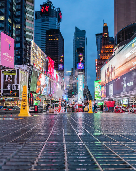 Times Square at the Blue Hour, with Reflections in Grate