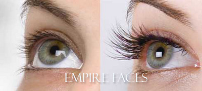Empire Faces, eyelash extensions before & after