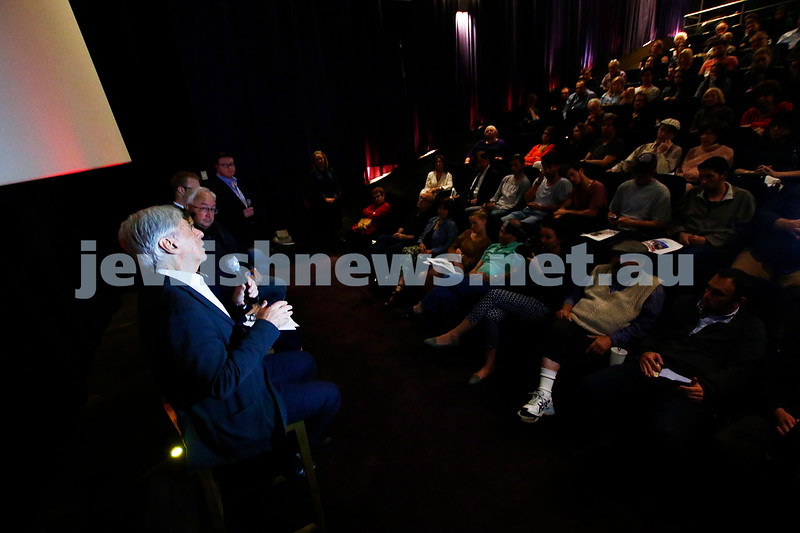 """20-2-17. Premier of """"Eyeless In Gaza"""" at the Classic Cinema Elsternwick. Panel discussion after the screening. Robert Magidl speaking to the audience. Photo: Peter Haskin"""