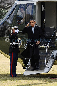 President Obama disembarks from Marine One on the South Lawn of The White House.