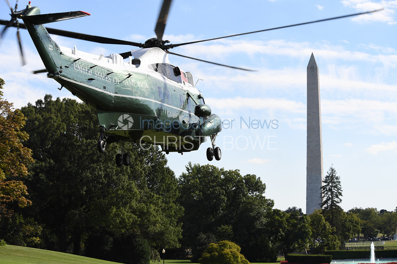 Marine One departs from the South Lawn of The White House.