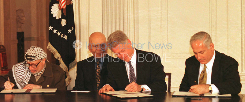 President Bill Clinton hosts the  Wye River Mid East Peace Signing agreement with Chairman Arrafat of Palestine, King Hussein of Jordan and Prime Minister Netanyahu of Israel