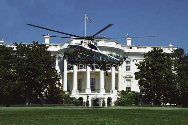 Marine One lands on the South Lawn of The White House.