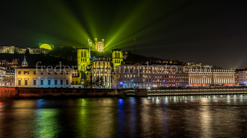 Lights from Fourvière during the Festival of Lights in Lyon