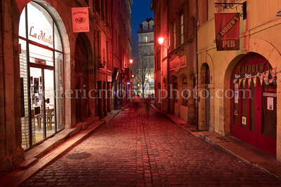 Mourguet Street in The Old Lyon during the Festival of Lights