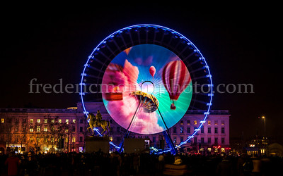 Wheel at the Bellecour square during the Festival of Lights in Lyon