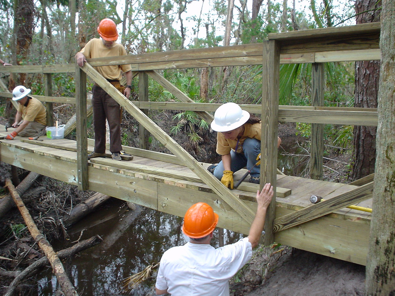 Working on the long bridge<br /> Photo credit: FTA / Bob Woods