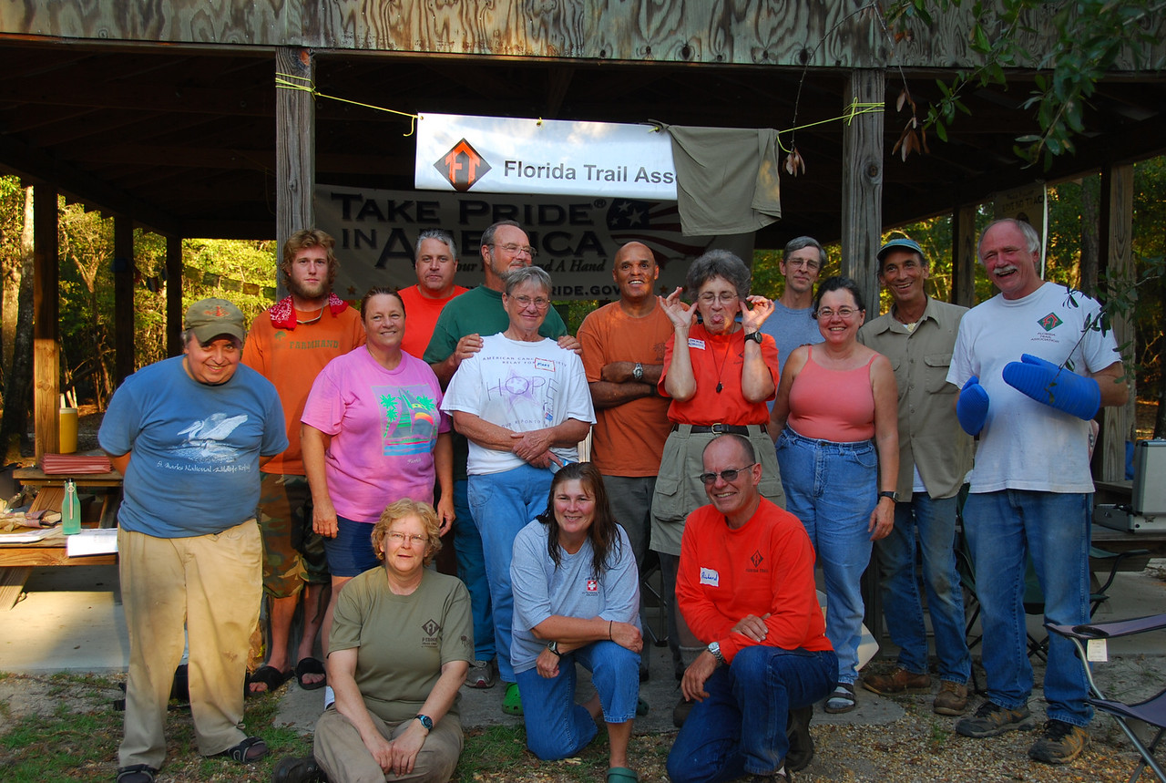 The F-Troop Trail Crew at Fort Braden gets a little wild and crazy....<br /> PHOTO CREDIT: Megan Eno / Florida Trail Association