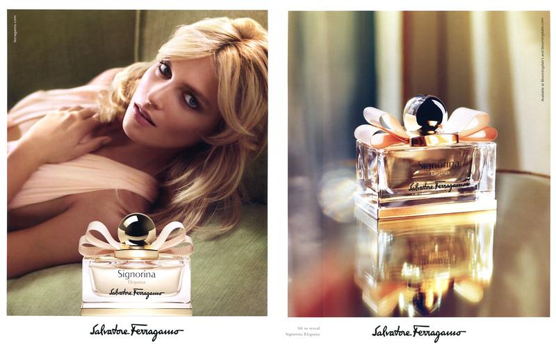 SALVATORE FERRAGAMO Signorina Eleganza 2014 US recto-verso with scent strip (format Harper's Bazaar)