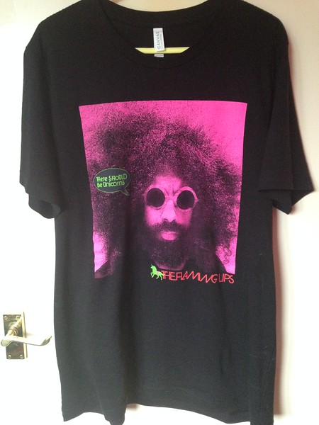 "Flaming Lips, 2017. ""There Should Be Unicorns"" tee. This was the tour where Wayne 'rode' through the crowd on an actual unicorn, whilst performing the song of the same name. Purchased at the Birmingham O2 Academy on 12th August."