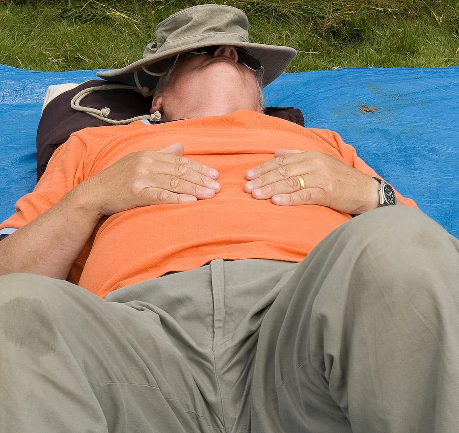 Tom MacPherson enjoying a nap