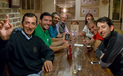 Thursday night, Harvester in Bridgend - L-R José, Iñigo, Iñaki, Vic, Sylvia, Lazaro and Fernando