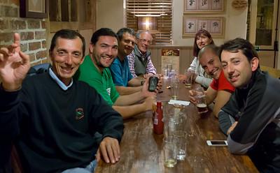 Thursday night, Harvester in Bridgend - L-R José, Iñigo, Iñaki, Vic, Sylvia, Lazaro and Fernando