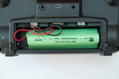 800mAh battery with JST-XH connector. Compartment is too narrow for regular LiPos.