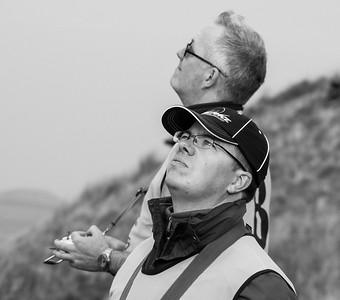 Relaxation: Greg Dakin and Daniel Schneider. Greg flew big aerobatics with his Needle.