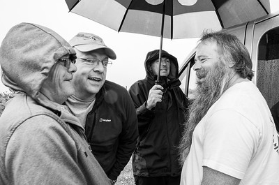 Sheltering under Mike's umbrella