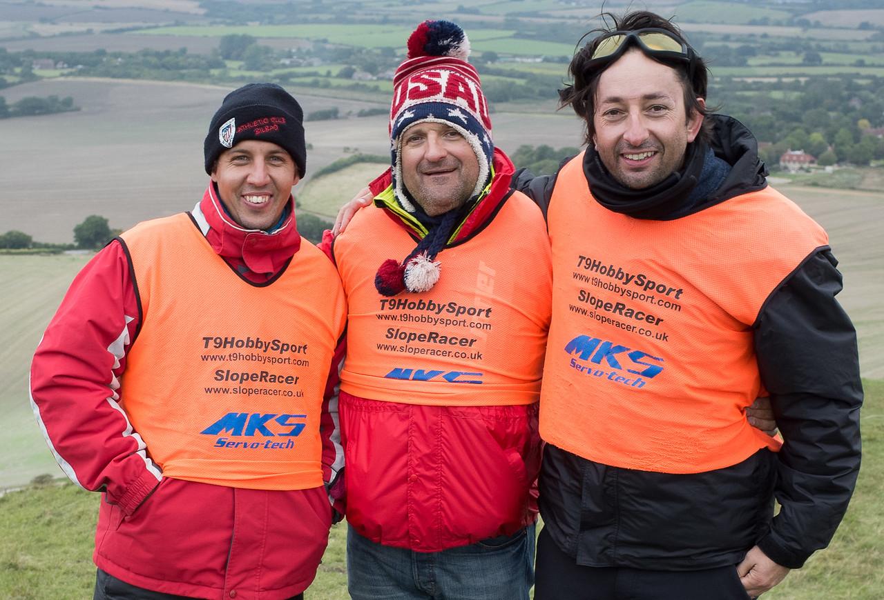 Happy trio: Jose Azcona, winner Iñaki Elizondo and Fernando Moro